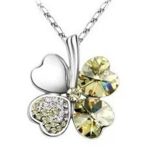 Yellow Four Heart Clover necklace,Swarovski elemen